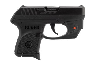 Ruger LCP 380 ACP pistol features an integrated Viridian laser sight