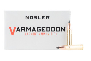 Nosler Varmageddon 300 Blackout ammo features a 110 grain polymer tipped bullet.
