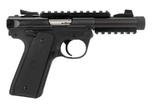 Ruger MKIV 22/45 22lr rimfire pistol features a threaded barrel