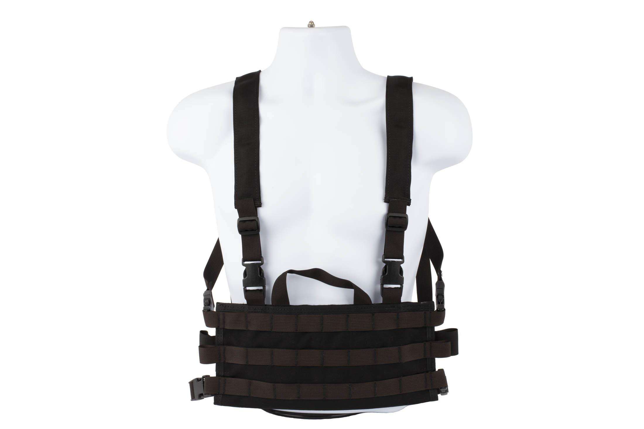 High Speed Gear AO chest rig is a lightweight modular load bearing vest in black