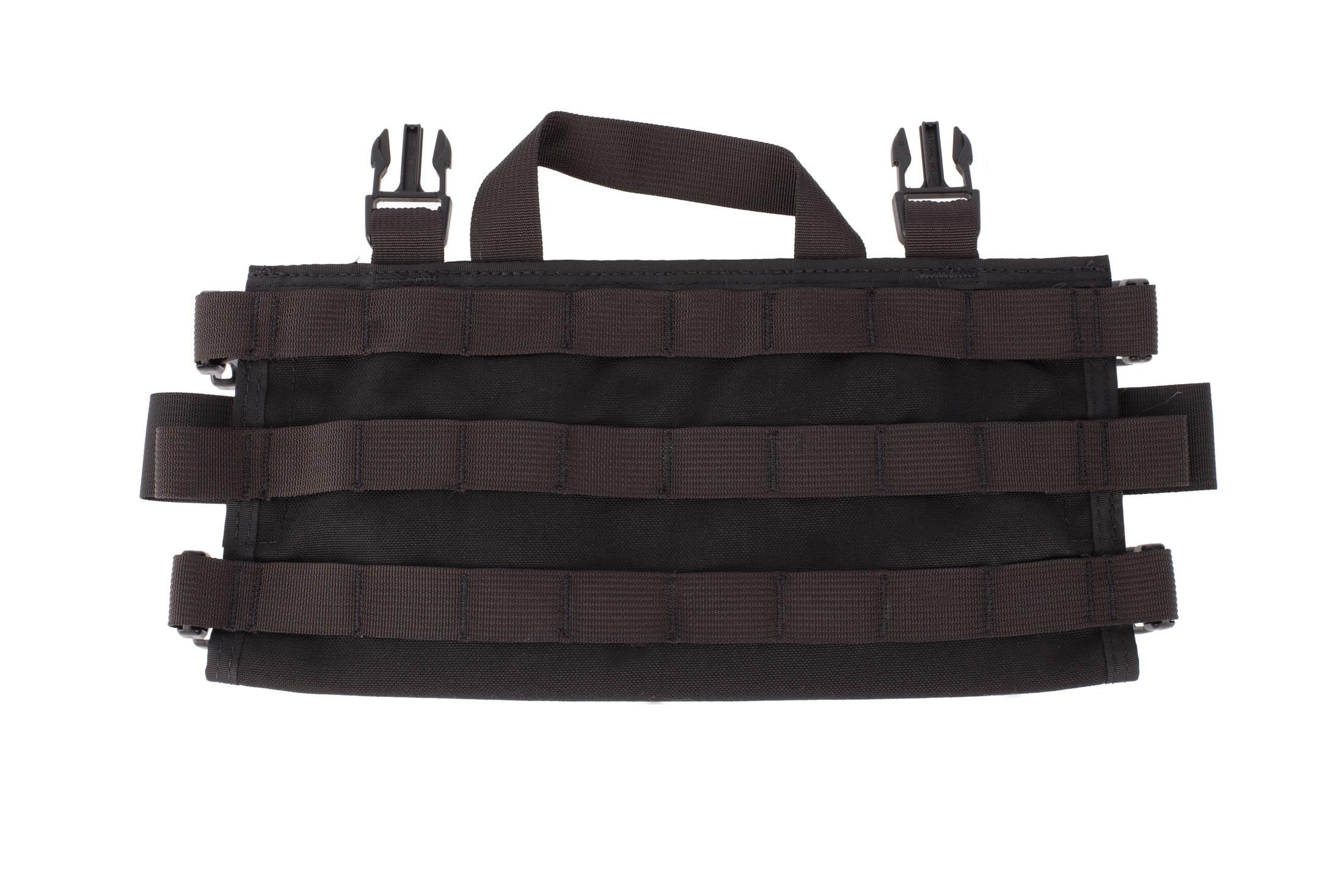 High Speed Gear AO chest rig in black features three rows of PALS webbing