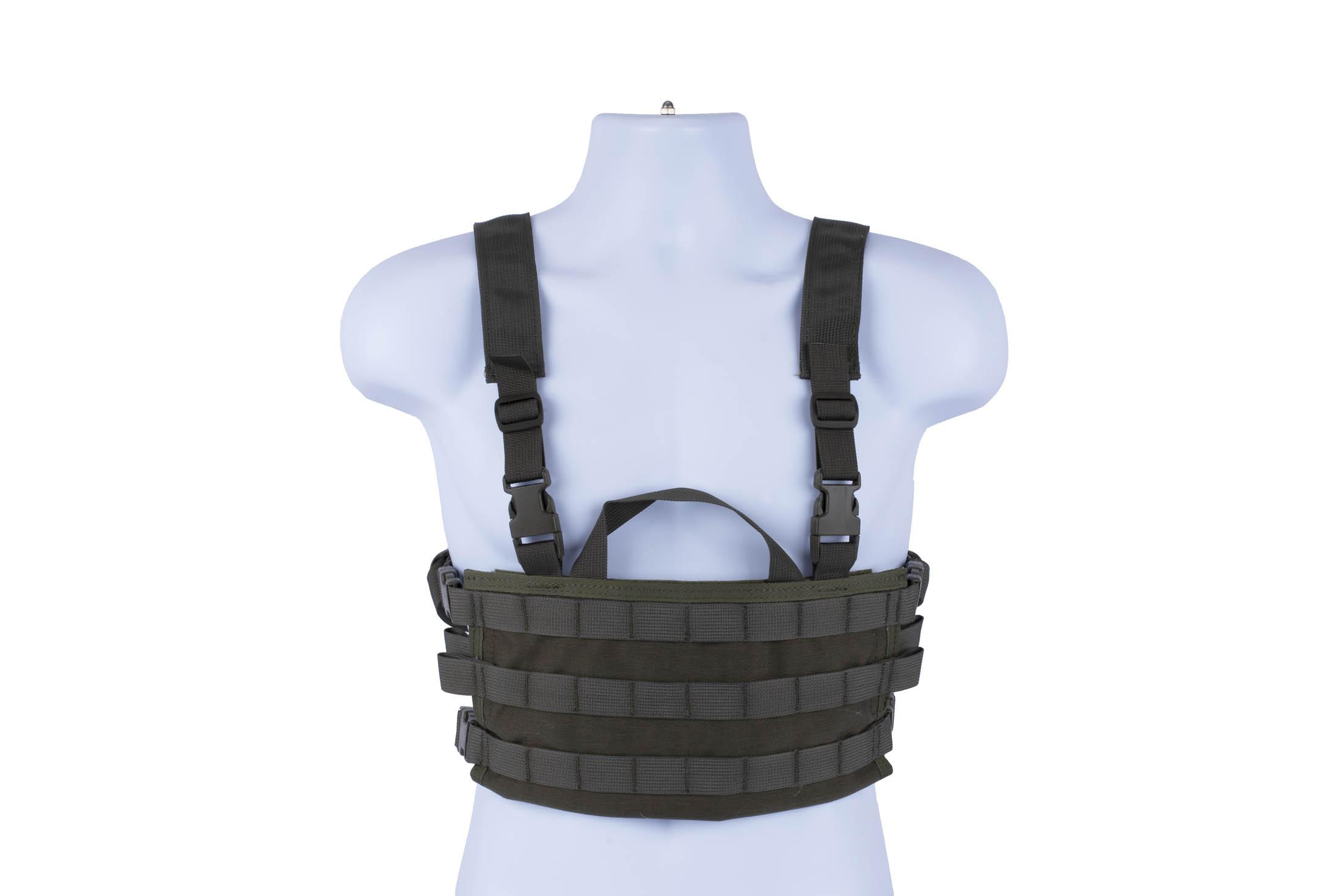 High Speed Gear AO chest rig is a lightweight modular load bearing vest in olive drab green