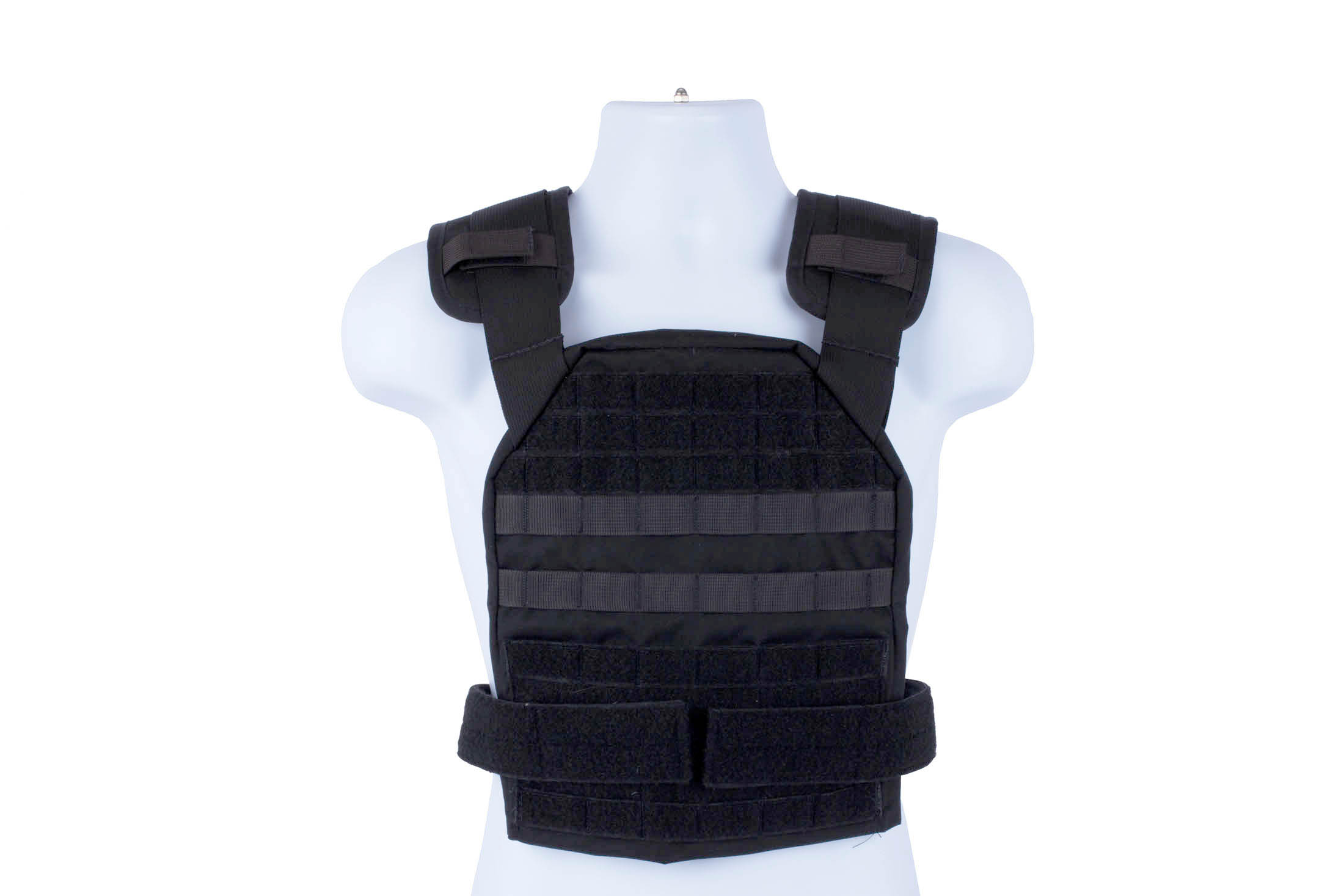 High Speed Gear black BRAVO Slick Plate Carrier accepts large ESAPI plates and offers a lot of accessory space.