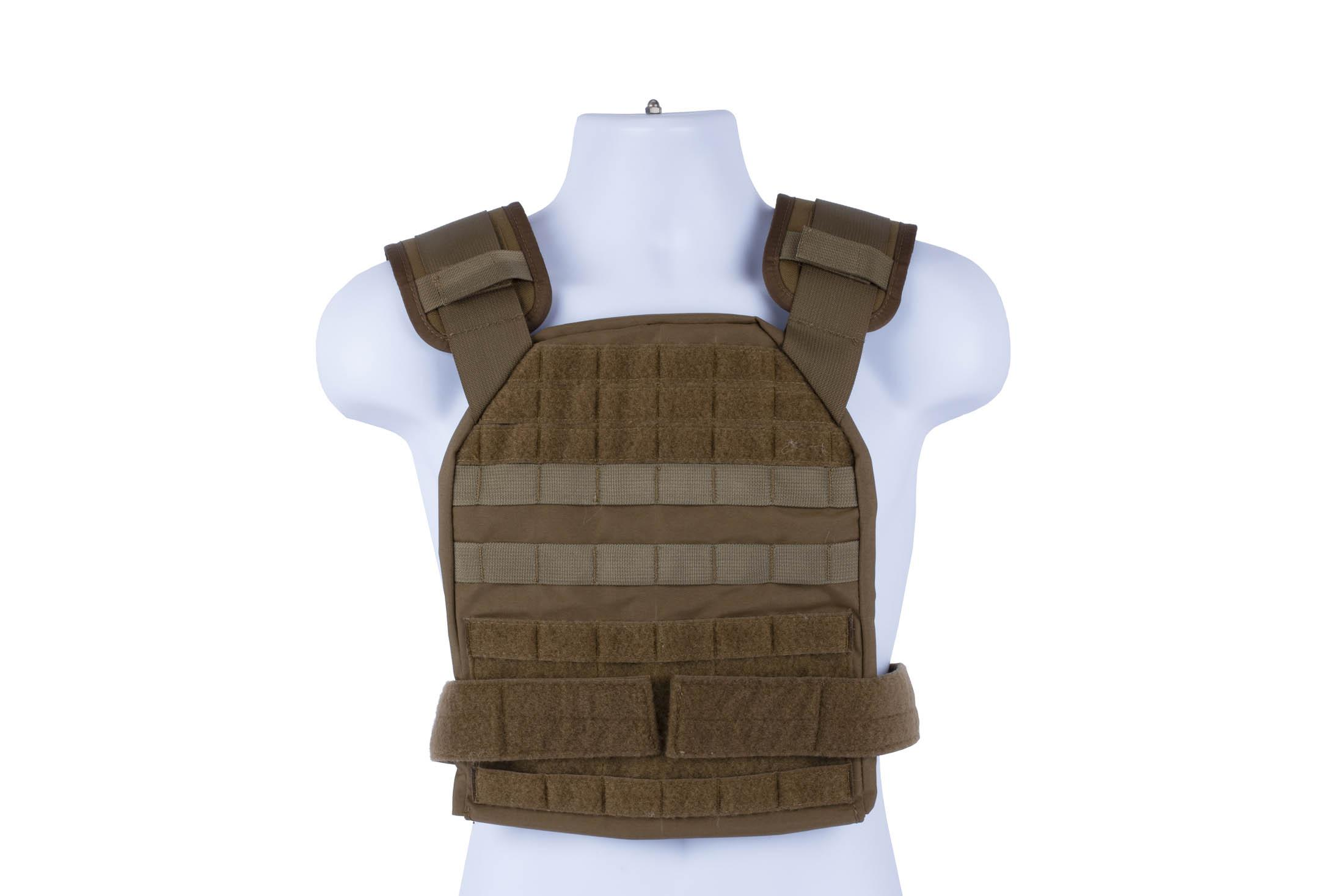 High Speed Gear coyote brown BRAVO Slick Plate Carrier accepts large ESAPI plates and offers a lot of accessory space.