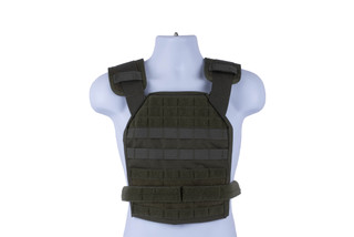 High Speed Gear olive drab green BRAVO Slick Plate Carrier accepts large ESAPI plates and offers a lot of accessory space.