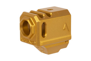 The Agency Arms 417C Glock 43 compensator features a gold anodized finish