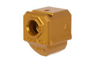 The Agency Arms Glock 417 compensator with gold anodized finish is a single chamber design