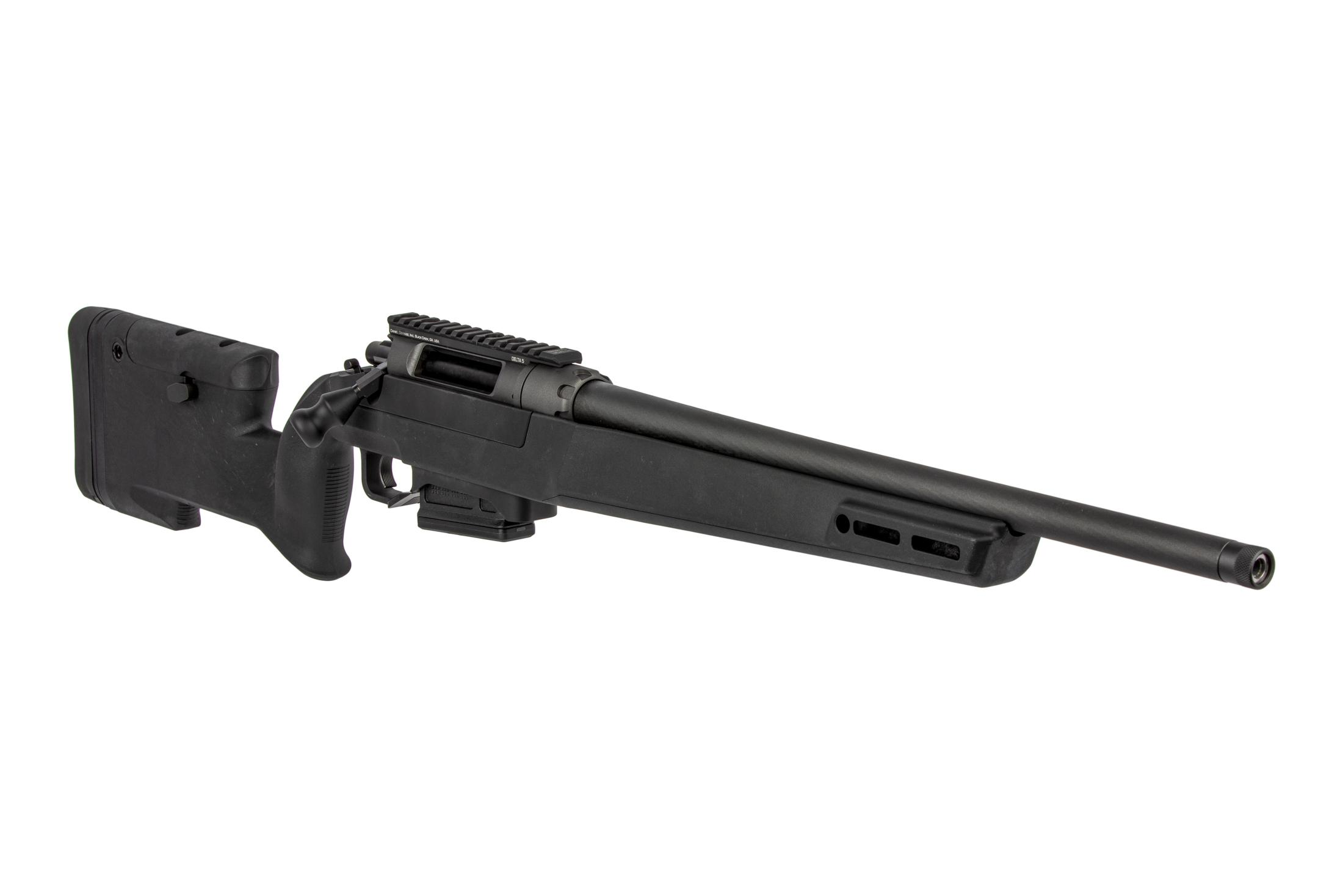 The Delta 5 308 rifle features a carbon fiber polymer stock