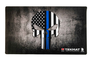 TekMat 42in door mat featuring a Blue Line Punisher skull dye sublimated graphic.