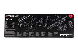 TekMat 44in premium rifle cleaning mat featuring an exploded view of the AK-47 series of rifles dye sublimated graphic.