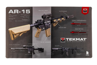 TekMat 44in premium rifle cleaning mat featuring an exploded view of the AR-15 Platform series of rifles dye sublimated graphic.