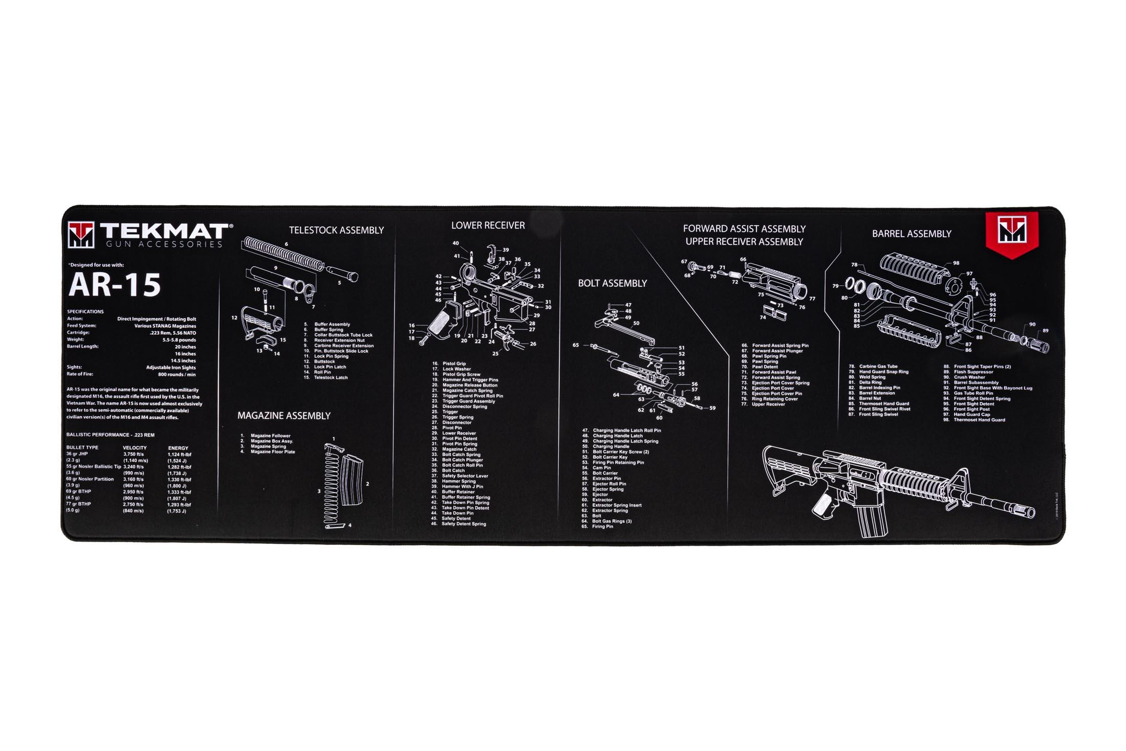 TekMat 44in premium rifle cleaning mat featuring an exploded view of the 1911 series of rifles dye sublimated graphic.