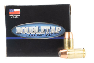 DoubleTap Ammuniition Equalizer .45 ACP +P ammo with 255gr jacketed hollow point dual projectiles in boxes of 20.