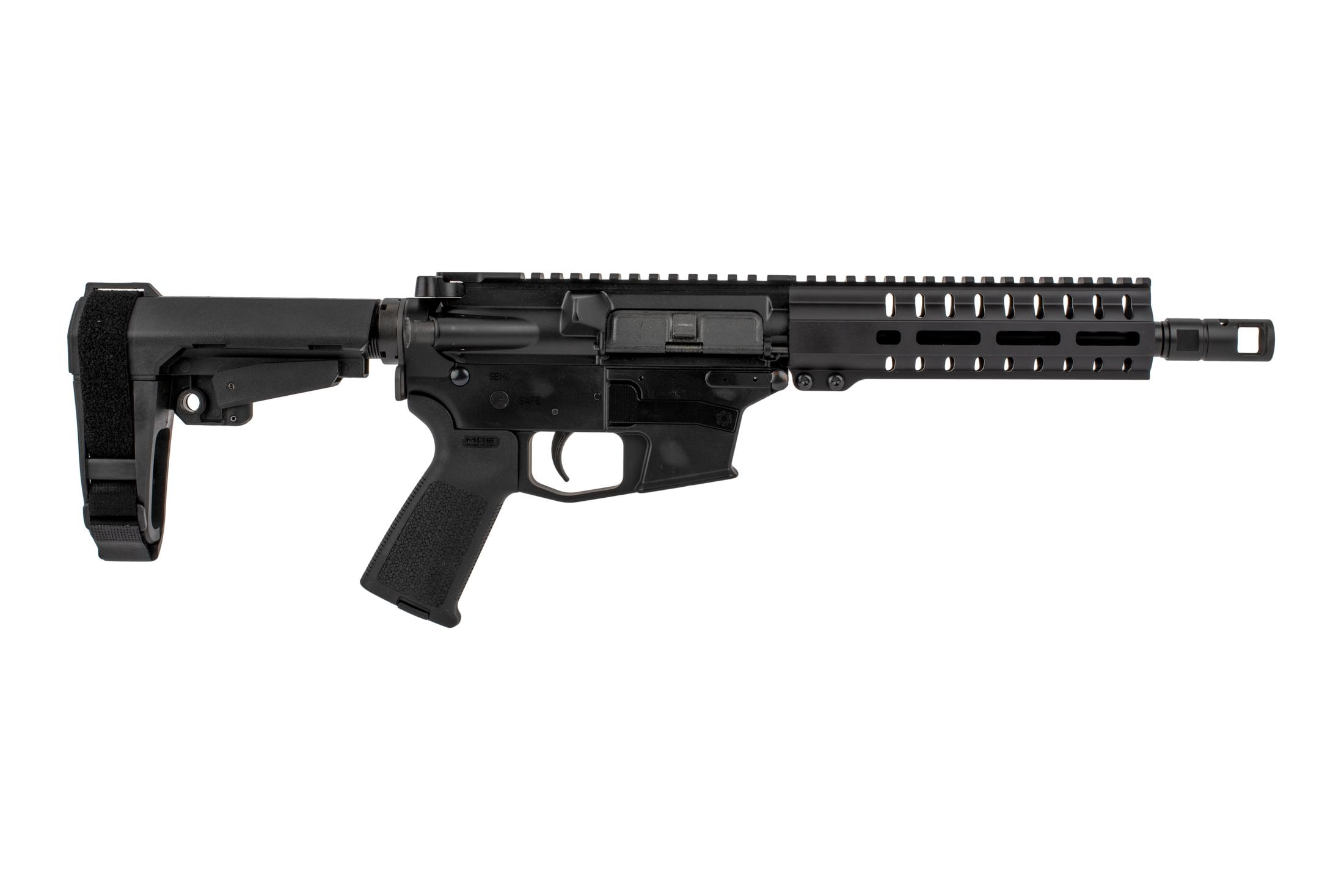The CMMG Banshee 200 series 45 acp glock style AR pistol features an 8 inch barrel and a free float M-LOK handguard