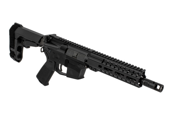 The CMMG Banshee 45acp AR Pistol comes with the RipBrace stabilizer and an MOE pistol grip