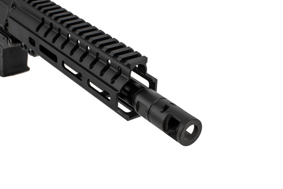 The CMMG 45ACP Banshee AR Pistol comes with a medium taper profile barrel and a large muzzle brake