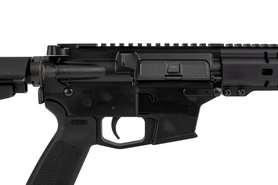 The CMMG Banshee AR Pistol chambered in .45acp features an integrated magazine release and Mil-Spec trigger