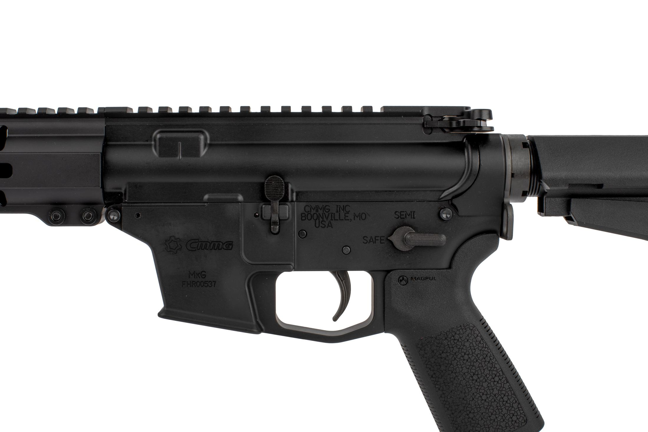 The CMMG Banshee MkG AR15 pistol is compatible with AR-15 parts like the trigger, safety, and bolt release