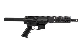 The CMMG Banshee 100 MkG AR pistol is chambered in 45 acp with the radial delayed blowback system