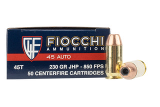 Fiocchi XTP 45 ACP ammo features a 230 grain jacketed hollow point bullet