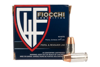 Fiocchi XTP 45 ACP hollow point ammo features nickel plated brass