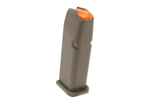 Glock 19 Factory 9mm Magazine 15 Round in OD Green is constructed of a durable polymer