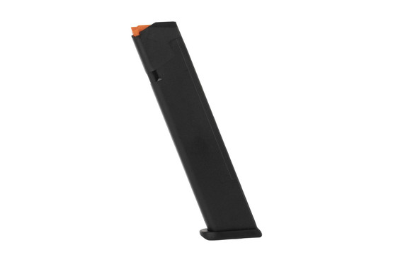 Glock OEM magazine holds 24-rounds of 9x19mm Luger ammunition in a tough and reliable package compatible with all generation Glocks
