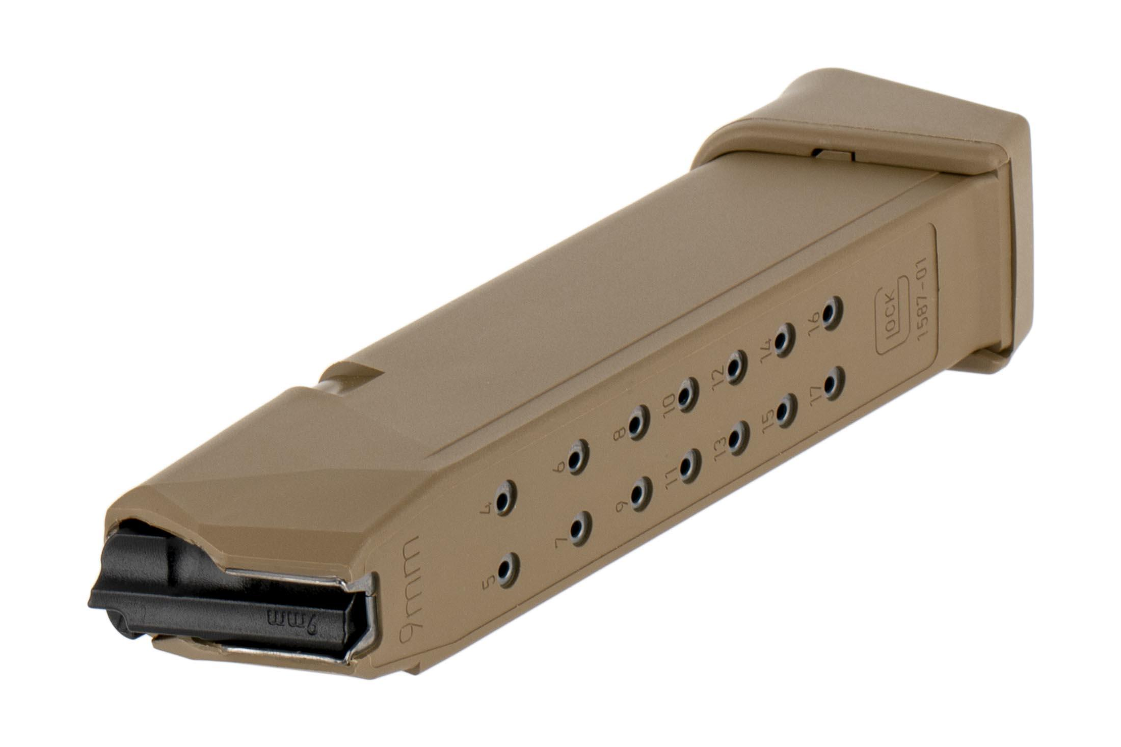 Glock coyote 19-round G19x handgun mag for 9x19mm ammo has hardened steel feed lips and polymer body