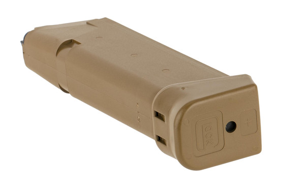 Glock 9mm G19x magazine holds 19-rounds of ammo with coyote finish and extended base plate