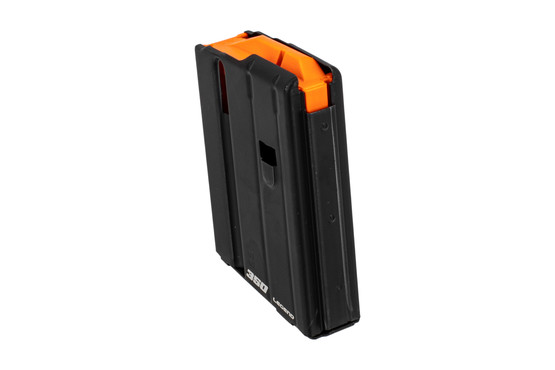 Ammunition Storage Components 5-round 350 Legend magazine with stainless steel body and bright orange follower.