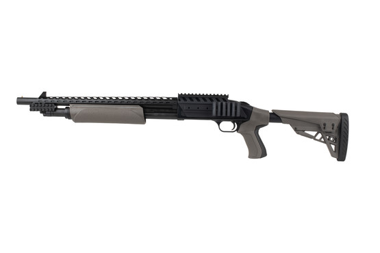Mossberg 500 12 gauge shotgun with Scorpion pistol grip stock features a 5 round capacity