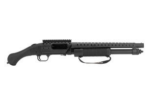 Mossberg 590 Shockwave SPX 12 gauge pump action shotgun features a short barrel and pistol grip
