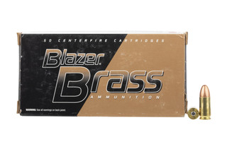 The CCI Blazer Brass 9mm ammunition uses a 115 grain full metal jacket projectile perfect for target practice