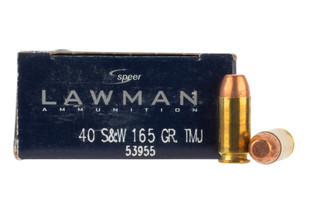 Speer Lawman .40 S&W 165gr Ammo features a total metal jacket with brass casing