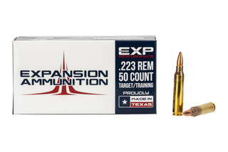 Expansion Ammunition 50-round box of 55-grain 5.56 NATO full metal jacket ammo for training and target shooting