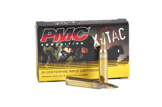 The PMC XTAC 5.56 NATO ammunition with 62 grain LAP projectile comes in a box of 20 rounds
