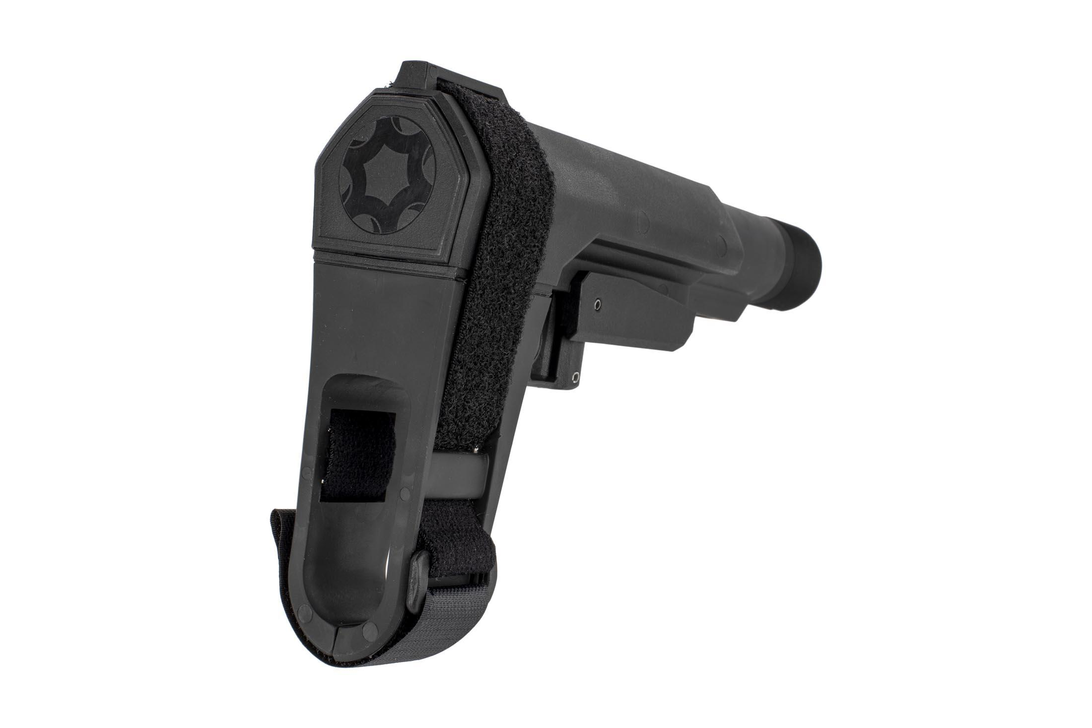 The CMMG RipBrace AR-15 pistol arm brace features an adjustable velcro strap and flexible rubber