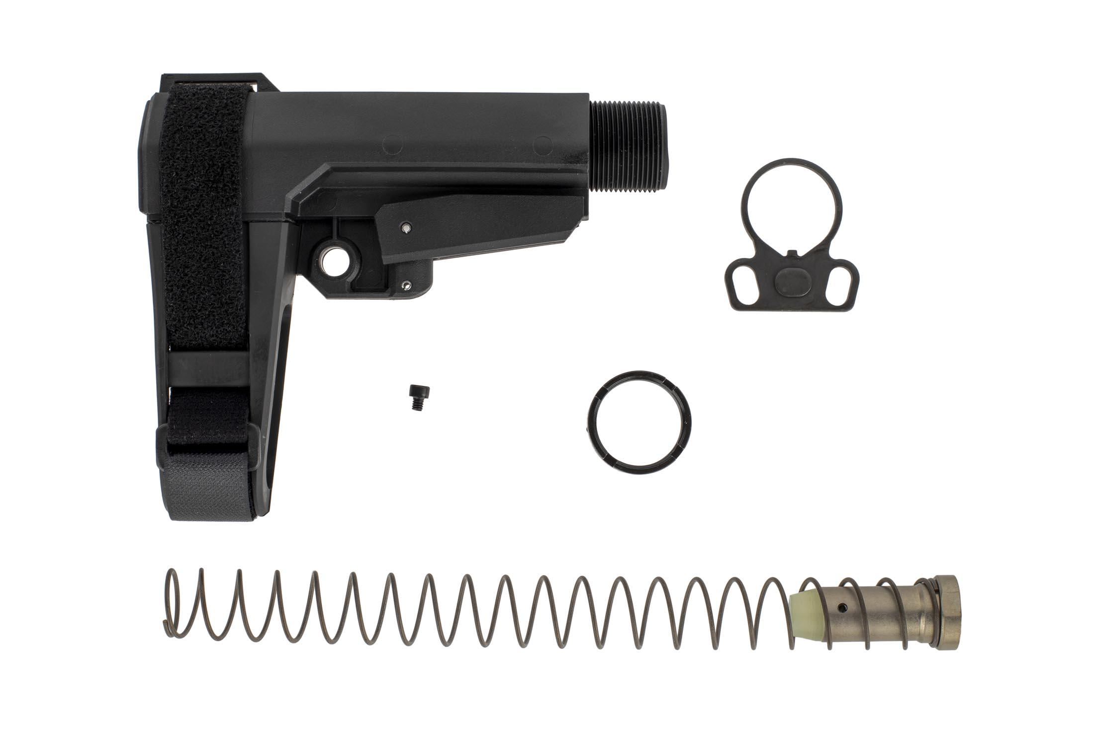 The CMMG Rip Brace CQB kit comes with a proprietary buffer, recoil spring, and end plate