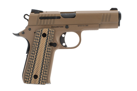 Rock Island 1911 380 acp pistol features a compact size and FDE finish