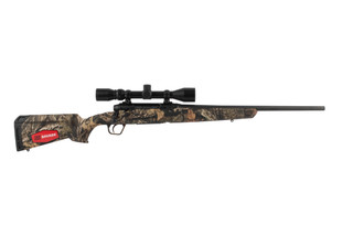Savage Axis XP Compact bolt action rifle with a camo stock
