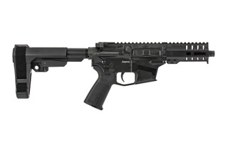 The CMMG Banshee 300 Mk57 AR pistol features a 5 inch barrel and a graphite black Cerakote finish