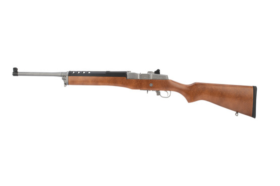 Ruger Mini 30 rifle features a wood stock