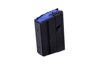 The C Products stainless steel 5 round 6.5 grendel magazine features a blue follower