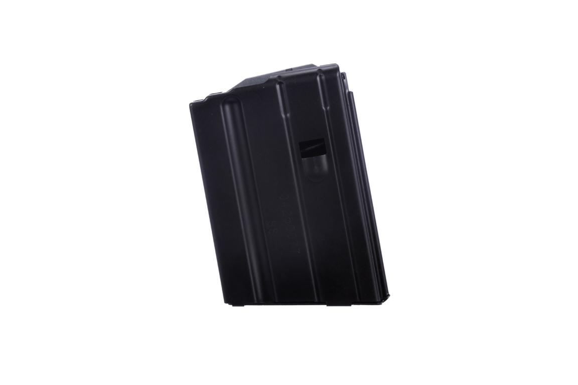The C Products steel 6.8 SPC 5 round magazine features a black anodized finish