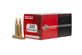 The Black Hills Ammunition .223 Remington 55 grain FMJ Black Hills ammo for sale is highly reliable and affordable