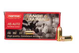Norma 45ACP full metal jacket ammo comes in a box of 50