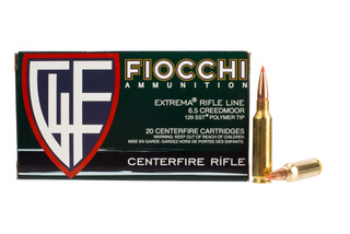 Fiocchi 6.5 Creedmoor ammo with 129 super shock hunting bullets in 20-round boxes.
