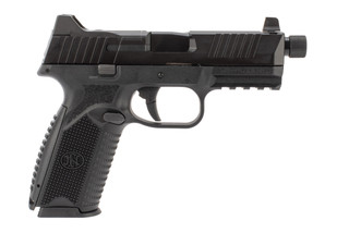 FN 509 Tactical 9mm pistol in black features a threaded barrel