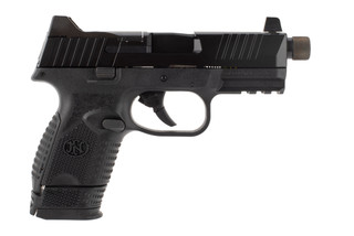 FN 509C 9mm compact pistol features a threaded barrel and black frame