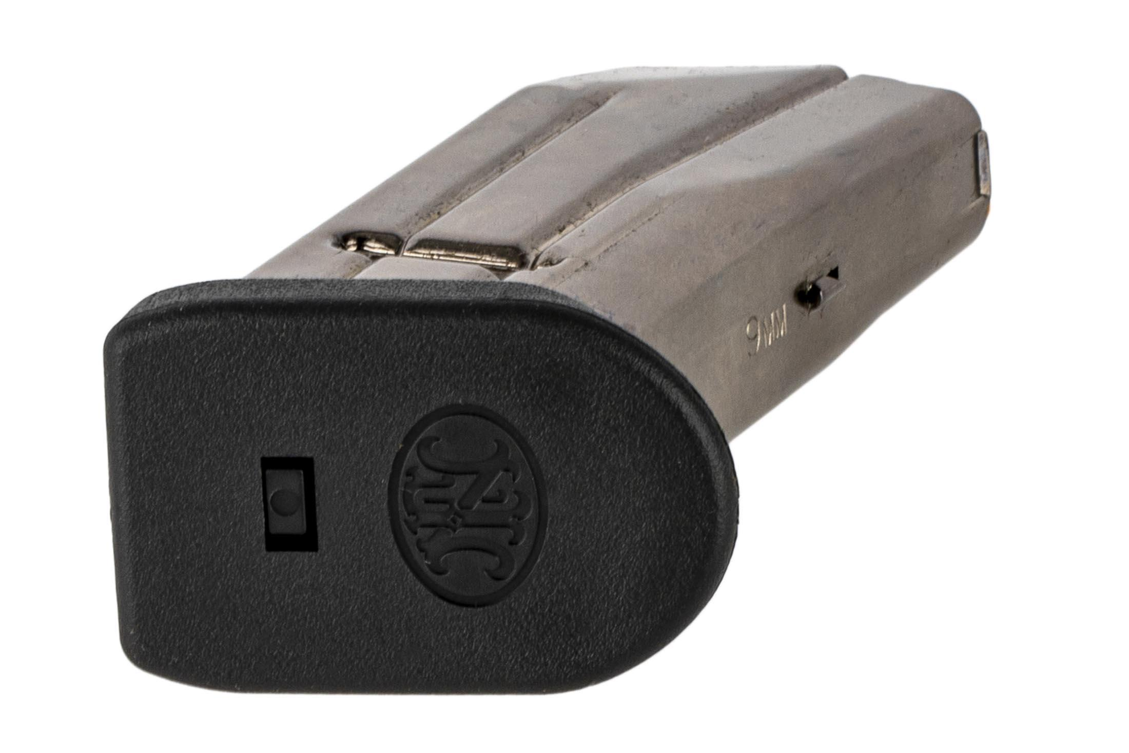 The FN FNS-9C 9mm Magazine features a flush fit polymer base pad